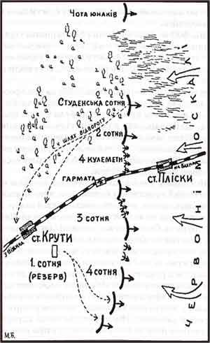 Карта бою під крутами
